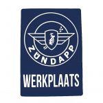 "Sticker Zundapp ""Werkplaats"" Blue A4"