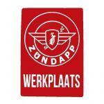 """Sticker Zundapp """"Werkplaats"""" Red A4"""