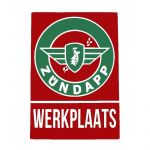 "Sticker Zundapp ""Werkplaats"" Red/Green A4"