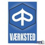 Vaerksted Sticker Piaggio Danish