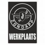 Werkplaats Sticker Zundapp Black Dutch