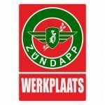 Werkplaats Sticker Zundapp Red/Green Dutch